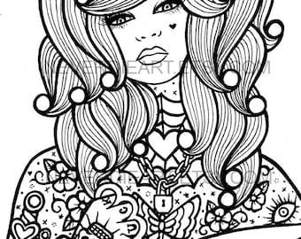 Digital Download Print Your Own Coloring Book Outline Page - Hard Candy 4 by Carissa Rose