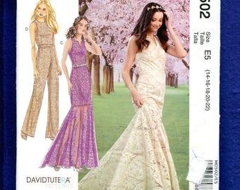 McCalls 502 David Tutera Flounce Train Wedding Dress Pattern Size 14 to 22 UNCUT