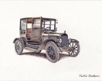 Tin Lizzie Ford~ Original Mixed Media Fine Art Illustration Drawing~ by Heather Stinnett