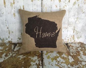 STATE Home Burlap Pillow Hostess Housewarming Gift Painted Burlap Pillow Accent Pillow Custom Colors Available Home Decor
