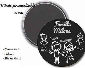Custom 75 mm Pocket mirror and pouch - family