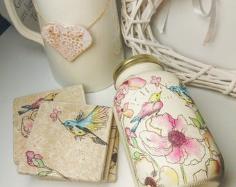 Birds and flowers mason jar and/or matching coaster set