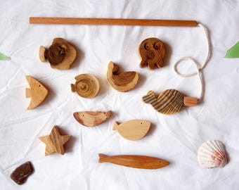 Wooden Magnetic Fishing Toy 10 fishes, Pretend Play Fishing Game, Montessori Baby, Baby Toy, Toddler Toy, Baby Gift, Toddler Gift