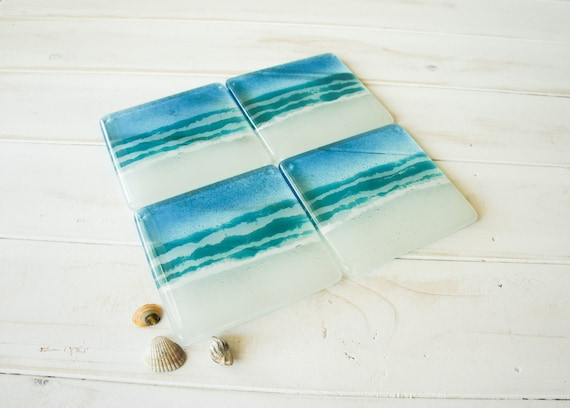 4 beach glass coasters free uk shipping turquoise beach sea. Black Bedroom Furniture Sets. Home Design Ideas