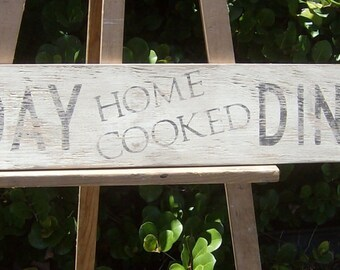 Rustic Home Cooked Sunday Dinner Sign/distressed/dining room decor