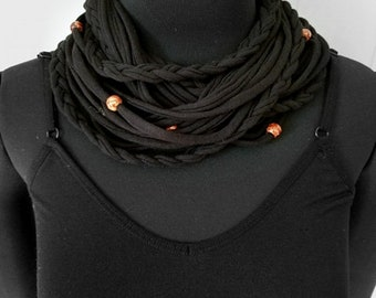 Handmade Scarf, T-Shirt Scarf, Infinity Scarf, Loop Scarf, Fabric Scarf, Cotton Fabric Scarf, Woman's Scarf, T-Shirt Necklace, Layered Scarf