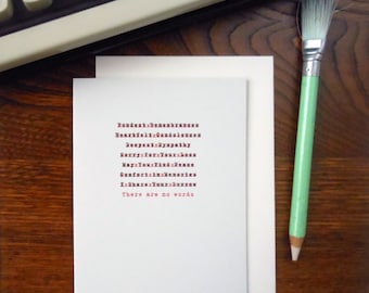 letterpress edited sympathy greeting card there are no words typewriter correction red & black ink on soft grey paper