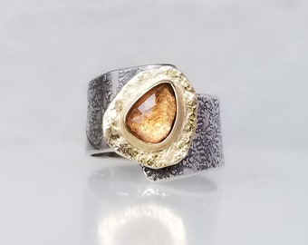 Champagne Tourmaline Stone Ring , Fused Ring, One of a kind, Handmade, Blush stone, Mixed Metal