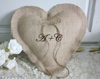Heart shaped ring bearer pillow personalized with your initials