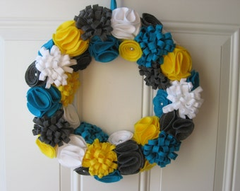 Spring Wreath- Teal, Yellow, White and Grey Felt Flower Wreath, Trendy Wreath, Door Decoration