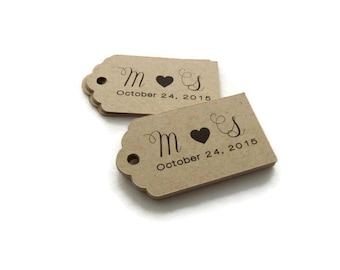 Personalized Tag - Wedding Favor Tags  - 50 Count - 2.25 x 1.25 inch - Kraft Tags  - Wedding Tags - Scallop Tag - Rustic Wedding