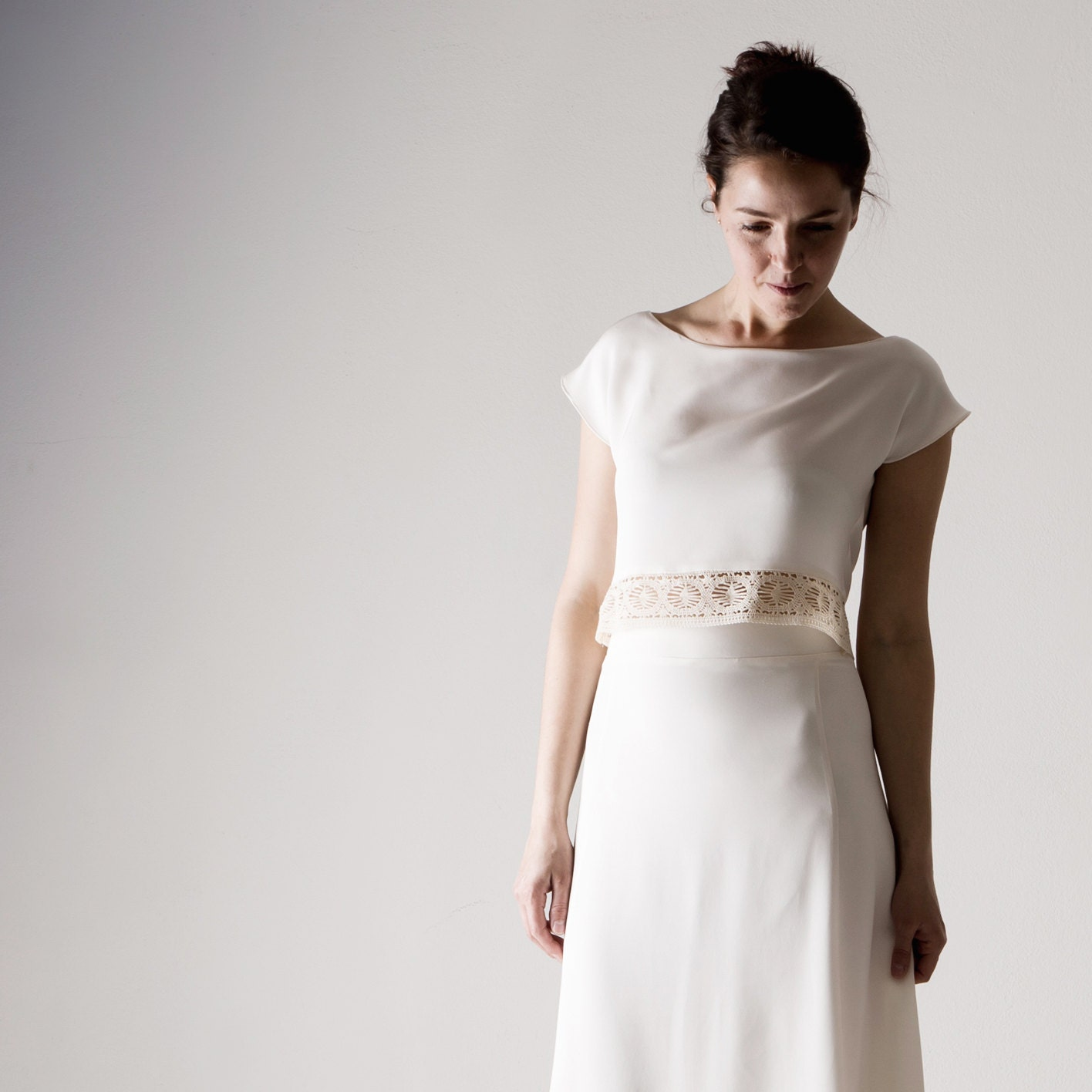 Wedding top Wedding separates Silk Crop top White top