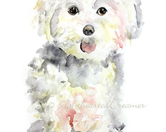Maltese Painting, Dog Print, Maltese, Puppy Print, Kids Wall Art, Giclee Print, dog nursery art, Watercolor Dog, watercolor animals