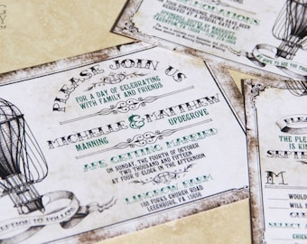 Vintage Hot Air Balloon Wedding Invitation Set. Air Baloon, Up Up and Away Wedding Invitations.