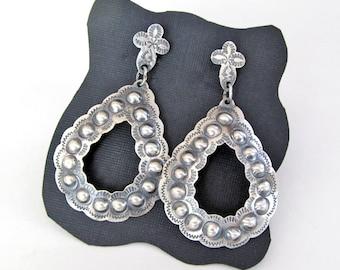 Signed Native American Sterling Silver Hoop Earrings, Repousse Sterling Silver Earrings, Big Bold Statement Earrings, Southwestern Jewelry