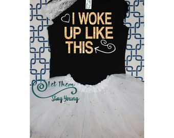 I woke up like this shirt White and gold glitter baby girl shirt hipster clothes #ootd natural beauty shirt i woke up like this toddler