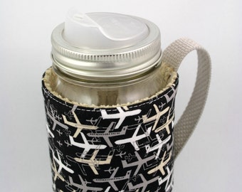 Mason jar sleeve, mason jar cozy, mason jar, coffee, tea, smoothies, airport, airplane, hand made, eco friendly,  yyz, travel mug, picnic