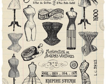 Dress Forms and Corsetry Rubber Stamp Collection