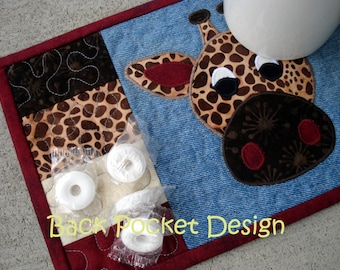 Brown Spotted Lanky Giraffe Recycled Denim Mug Rug Quilted Coaster