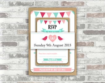 Print your own personalised WEDDING INVITATION BUNDLE - Personalized digital files - bunting, birds, heart - hot pale pink, turquoise - diy