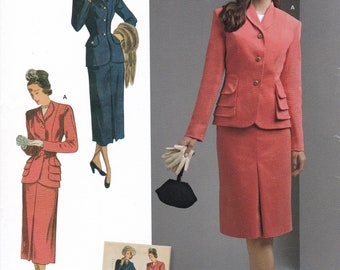 FREE US SHIP Vintage 40's Sewing Pattern Simplicity d0824 8508 Suit Fitted Jacket Pencil Skirt New Size 10/18 20/28 Bust 32-50 Reproduction