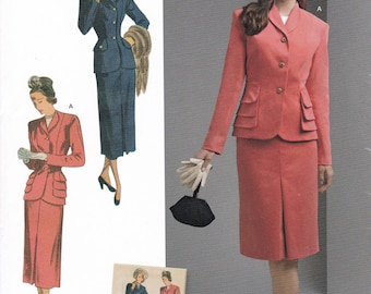 FREE US SHIP Vintage 40's Sewing Pattern Simplicity d0824 8508 Suit Fitted Jacket Pencil Skirt New Size 10/18 20/28 Bust 32-50 Repro