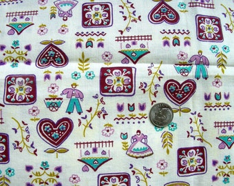 Vintage Feedsack Cotton Novelty Fabric // SWEET LAVENDER Dolls, Hearts, Bird Cages //  32 x 28