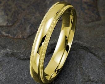 Yellow Gold Wedding Ring, Mens Wedding Band, Solid Gold Ring, Mens Ring, 4mm 14k Yellow Gold Ring, Custom Engraved Band, Mens Gift