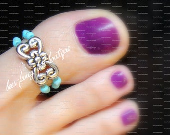 Big Toe Ring, Silver Toe Ring, Silver Ring, Turquoise Stone Beads, Gray Beads, Toe Ring, Ring, Stretch Bead Toe Ring
