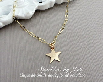 Wish Upon a Star Necklace - Choker Length, 14K Gold Filled Components with Gold Filled Star Charm, Simple, Minimal, Celestial Jewelry