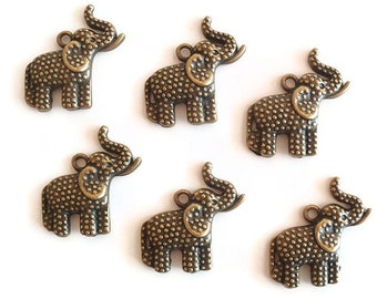 6 Antiqued Bronze Color Charms / Pendant, Jewelry Making Supply, Charming Plated Alloy Elephant, LEAD FREE