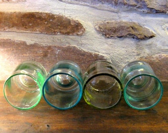 """recycled glass tumblers from bottles, 4 sea shades, 3.5"""" tall"""