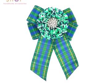 Designer Inspired bow brooch, Blue green flower bow brooch,green flower pin,Check Bow,Ribbon Brooch,Luxury fashion,Valentineday gift