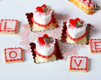 Heartshaped Cream Cake - Individual French Valentine's Pastry - Miniature Food