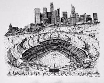 Dodger Stadium - Los Angeles Skyline