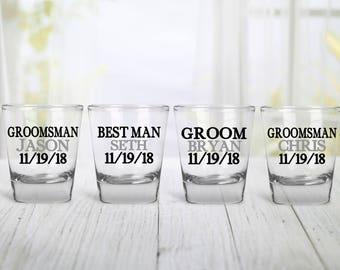 Wedding Party Shot Glass, Groom Shot Glass, Best Man Shot Glass, Groomsmen Gift Shot Glass, Wedding Shot Glass, Personalized Shot Glass,