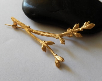 Gold Branch Brooch, Organic Jewelry, Gold Plated Jewelry, Nature Inspired Brooch, Woodland Jewelry, Botanical Jewellery, gift for mom