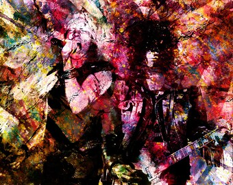 Guns n Roses Art, Axl and Slash Painting, Axl Rose, Slash, Original Art Print