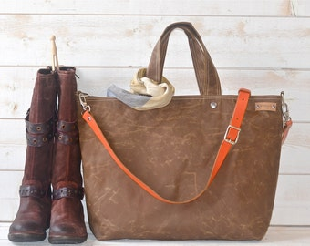 Diaper bag, Waxed canvas bag, Messenger bag,  Gift for her, Tote bag, Tan brown tote bag,work bag, Gift for mom, gift for him