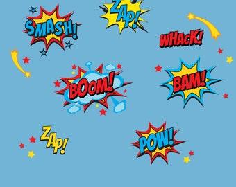 Superhero Wall Decals Superhero Sayings Decal Pow Zap Boom Wall Decals REUSABLE DECALS  sc 1 st  Etsy & Super Hero City Skyline Children Nursery 40 wide