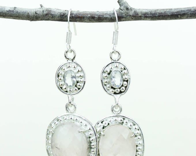 Rose Quartz 925 SOLID (Nickel Free) Sterling Silver Italian Made Dangle Earrings e660