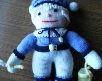 "Jack frost toy gift hand knitted  14"" tall"