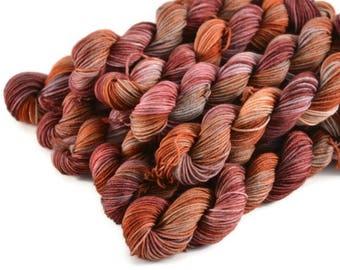 Mini Skeins, Hand Dyed Yarn, Sock Weight, Superwash Merino Wool Yarn, Knitting Yarn, Sock Yarn, Multi-colored, red, orange - Catching Fire