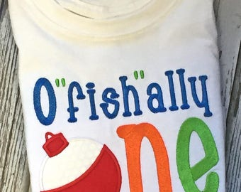 "Boy's First Birthday O""fish""ally One-First Birthday O""fish""ally One T-Shirt-Custom Boy's First Birthday T-Shirt"