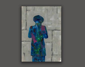 Praying Man,Judaica High Quality Prints From Original Work ,israeli  Contemporary Art,modern Good Looking