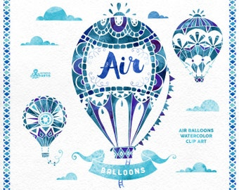 Air Balloons Blue. Watercolor handpainted clipart, hot air ballon, diy elements, invitation, boho, clip art, quote posters, clouds, ribbons