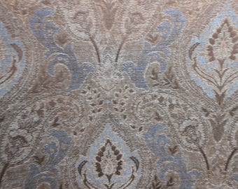 Nutmeg/Ice Blue Upholstery Fabric, Sewing, Home Decor