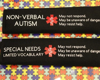 Autism Awareness, Medical Alert Autism, Seatbelt Cover, non-verbal, autistic, special needs, down syndrome, epilepsy, autism med alert