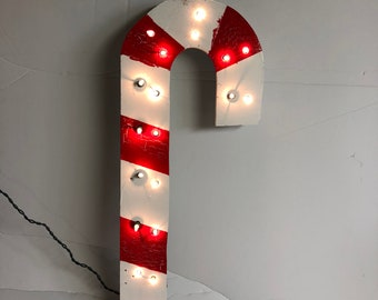 Wooden Candy Cane with lights