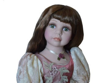 Vintage Porcelain Doll, Collectible Memories Porcelain Doll, Cathay collection, 1980 porcelain doll, Victorian porcelain doll